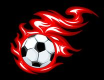 Football ball in fire flames. Football and soccer ball in fire flames for sports design Royalty Free Stock Photos