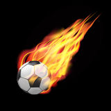 Football ball in fire. Flying down.  on dark background. Vector illustration Stock Photos