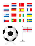 Football ball and flag Royalty Free Stock Image