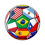 Football ball with flags. Football ball - soccer - with flags isolated on a white background Royalty Free Stock Photos