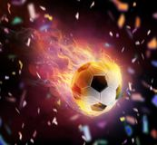 Football ball flamy symbol royalty free stock image
