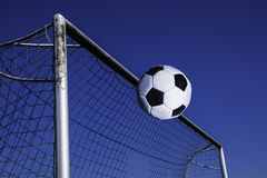 Football. Ball flies into the gate Stock Image