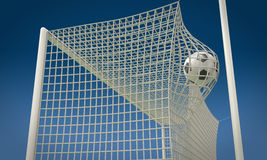 Football ball flies into the net gate close-up. 3d illustration Royalty Free Stock Image