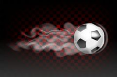 Football ball flying leaves a trail of smoke on a transparent background. Vector Royalty Free Stock Images