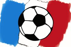 Football ball and France flag hand drawn simple illustration, so Royalty Free Stock Photos