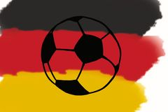 Football ball and Germany flag hand drawn simple illustration, s. Occer ball on flag. Football World cup, Fifa Championship Soccer. Sketch or drawing in doodles Stock Photos
