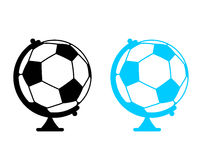 Football ball Globe. World game. Sports accessory as earth spher Royalty Free Stock Photo