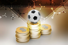 Football ball with gold coins Stock Photography