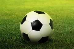 Football. The ball on the grass royalty free stock photo
