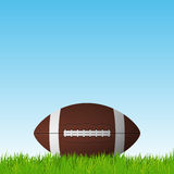 Football ball on a grass field. Royalty Free Stock Photo