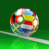 Football ball on the green field