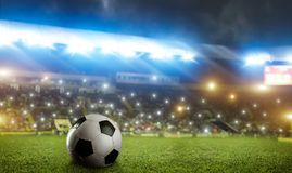 Football ball on green grass of the stadium field royalty free stock photography