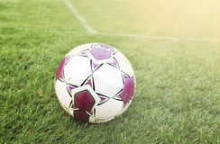 Football ball on green grass at sunny day. Football ball on green grass and all national flags stock photo