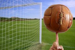 Football ball in hand net soccer goal Royalty Free Stock Photography