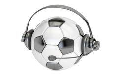 Football ball with headset or headphones 3D rendering Royalty Free Stock Image