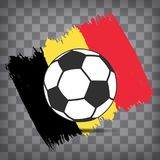 Football ball icon on Belgian flag background from brush strokes. In grunge style on dark transparent chequered background vector illustration