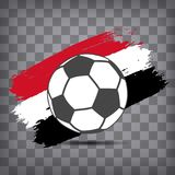 Football ball icon on Egyptian flag background from brush stroke. S in grunge style on dark transparent chequered background stock illustration