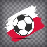 Football ball icon on Polish flag background from brush strokes. In grunge style on dark transparent chequered background royalty free illustration
