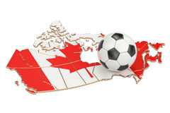 Football ball with map of Canada concept, 3D rendering. Football ball with map of Canada concept, 3D Royalty Free Stock Photo
