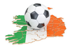 Football ball with map of Ireland concept, 3D rendering Stock Photos