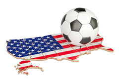 Football ball with map of USA concept, 3D rendering. Football ball with map of USA concept, 3D Stock Photos