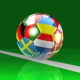 Football Ball On The Green Field Stock Photos