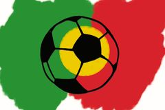 Football ball and Portugal flag hand drawn simple illustration, Royalty Free Stock Photos