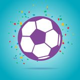 Football ball purple logo. On a blue background Royalty Free Stock Image