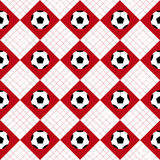 Football Ball Red White Chess Board Diamond Background Stock Photo