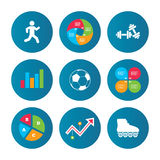 Football ball, Roller skates, Running icons. Royalty Free Stock Photos