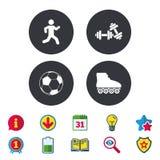 Football ball, Roller skates, Running icons. Royalty Free Stock Photo