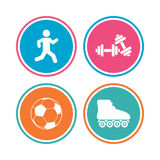 Football ball, Roller skates, Running icons. Royalty Free Stock Photography