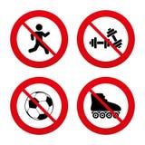 Football ball, Roller skates, Running icons Stock Image