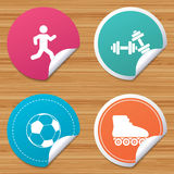 Football ball, Roller skates, Running icons. Royalty Free Stock Photo