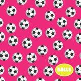 Football ball seamless pattern on pink background Stock Photography