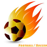 Football ball or soccer ball with red orange yellow tone fire in the white background. Logo of football or soccer club. Stock Image