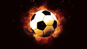 Football ball soccer on fire flames explosion burning Stock Photo