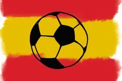 Football ball and Spain flag hand drawn simple illustration, soc Royalty Free Stock Image