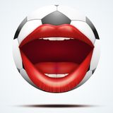 Football ball with a talking female mouth Royalty Free Stock Photo