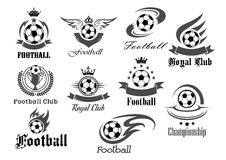 Football ball vector icons for royal soccer. Football royal club icons set. Soccer tournament or championship game award badges templates. Vector symbols of fire Stock Photos