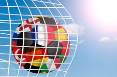Football ball. A view of a football ball in european football championship royalty free illustration