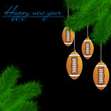Football balls on Christmas tree branch. Congratulations to the New Year and football balls hanging on the Christmas tree branch on a black background. Vector Royalty Free Stock Photos