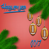 Football balls on Christmas tree branch. Congratulations to the New Year and football balls hanging on the Christmas tree branch. Vector illustration Stock Photo