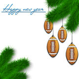 Football balls on Christmas tree branch. Congratulations to the New Year and football balls hanging on the Christmas tree branch on a white background. Vector Royalty Free Stock Images