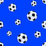 Football Balls Seamless Pattern Template, Endless VECTOR Background Template, Blue Backdrop, Drawn Balls. Royalty Free Stock Images