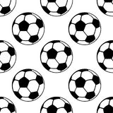 Football balls seamless pattern, vector sport background. Black and white illustration Stock Photography
