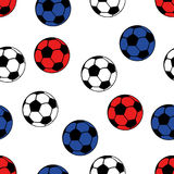 Football balls seamless pattern, vector sport background. White, blue and red balls Royalty Free Stock Photo
