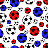 Football balls seamless pattern, vector sport background. White, blue and red balls Royalty Free Stock Photography
