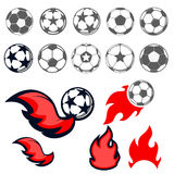 Football balls. Set of football balls. Football ball with fire. Emblem design elements Stock Photo