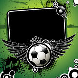Football banner. With the balls and stars on a green background Stock Photography